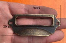 Wholesale New Arrive Antique Brass Metal Label Pull Frame Handle File Name Card Holder For Furniture Cabinet Drawer Box Case Bin