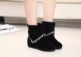 Spring and autumn winter female students with flat diamond tassel in increased single boots fall the virgin boots