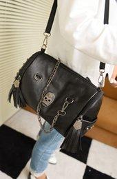 2015 new female street cool punk rivet skull Fashion Shoulder Bag women bag sale chain