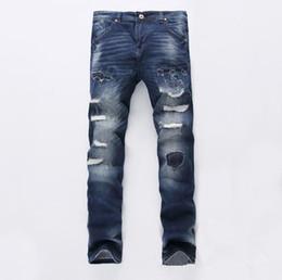 Top Famous Popular Broken Scratch Hole Skinny Jeans Mens Vintage Casual Ripped LOGOJeansDenim Beggar Joggers Punk Pants mix order