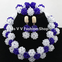 Nigerian Wedding African style Beads white royal blue Jewellery Set Full Beads Chunky Bib Women Party Jewelry Set Free shipping
