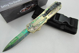 Wholesale microtech scarab gold Abalone shell models double action Folding Pocket Knife Survival Knife Xmas gift for men sample freeshipping