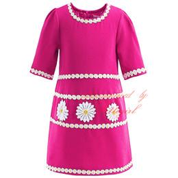 Pettigirl New Summer Half Sleevees Straight Gril Dresses O Neck Chrysanthemum Flowers Appliques Rose Red Baby Children Wear GD90218-620F