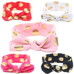 Wholesale 2016 baby newborn infant children elastic headbands Dot Cotton bronzing rabbit ears Turban Headband knot headwrap korean hair accessories