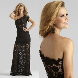 Black Prom Dresses One Shoulder Modest Full Lace 2017 Custom Made Long Sheath Floor Length Plus Size Evening Gowns