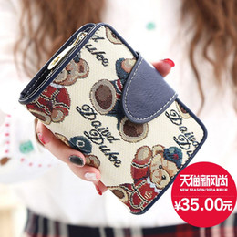 Wholesale Women Short Wallet Lovely Carton Bear Pattern Soft Leather Materials Small Purse Candy Fresh Colors High Quality