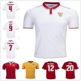 Wholesale Sevillas Soccer Jersey Top Quality La Liga Sevillas Fc Home camiseta de futbol Coke Reyes Krychowiak Llorente White Football Shirt