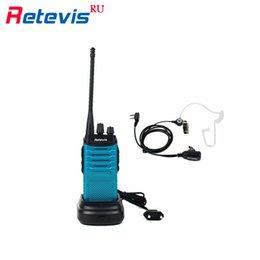 Wholesale Retevis RT7 Walkie Talkie Throat MIC Covert Acoustic Tube Earpiece W CH UHF Two Way Radio FM Radio VOX Scan Blue RU Ship