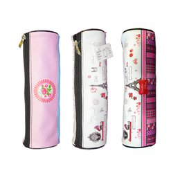 Wholesale Lovely Pencil Case - Pencil Case Bags Students Stationery School Supplies Bag Cylinder With lovely Printing Designs Zippered Opener On Top Mouth of Box
