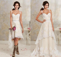 Popular A Line Full Lace Wedding Dresses Sexy Spaghetti Straps Backless Summer Beach Short Bridal Gowns with Detachable Train Hi-Lo Dresses