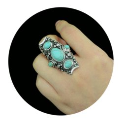 Wholesale Vintage Indian Turkish Silver Custom Carving Antique Persian Turquoise Stone Ring Boho Jewelry Ethnic Native American