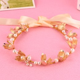 2016 Fashion Hot Sale Tiara Pearl Flower Leaf Hairband For Wedding Bridal Hair Accessory Women Headpiece