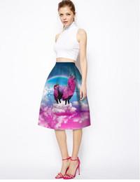 Wholesale The new European and American fashion elegant ladies d rainbow unicorn big bust skirt of tall waist skirt to umbrella skirt