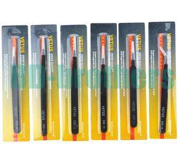 Red Package Black VETUS Tweezers HRC40 Antistatic Stainless Steel Nipper ESD-10 ESD-11 ESD12 13 14 15 for Phone Repair 100pcs
