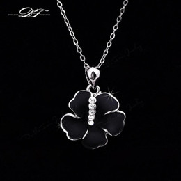 Big Blace Rose Platinum Plated Charms Necklaces & pendants Fashion Jewelry For Wonem Gifts Crystal Chains colares DFN075