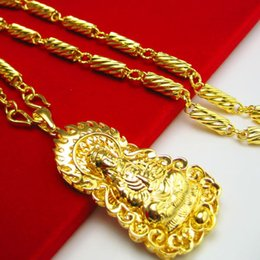 For a long time does not fade like a gold necklace and gold plated hollow 999 gold 24 gold Guanyin hanging pendant