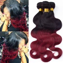 Brazilian Body Wave Hair 1B 99J Bundles 3Pcs Lot Colored Two Tone 1B Burgundy Hair Extensions Brazilian Human Hair Weave Hot Sale