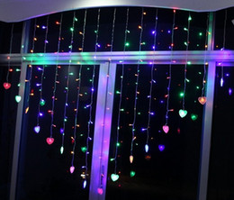 2m x1.5m Heart Shape 124 led 16 Heart LED Fairy String Holiday Christmas Wedding Bar Party Birthday Decoration Led Curtain Light