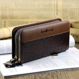 baellerry Crocodile pattern designer Long Business Man wallet double zippers Men's leather clutch bag male purse phone handbag
