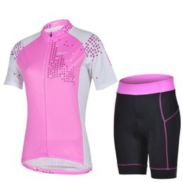 Wholesale 2015 Beautiful Women Cycling Jersey Sets Stylish Short Clothes and Pants Pink Bicycle Clothes Suits