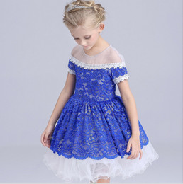5-14Y Toddler Baby Girls Kids Tutu Crochet Lace Dress Short Sleeve Princess Dress Girls Clothes Spring Summer free shipping