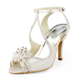 Wholesale Leather Sandals Pearls - Vintage White Ivory High Heels Bridal Shoes Pumps Pearls Crystal Peep-toe Wedding Shoes Ankle Strap Prom Heels Sandals Evening Party Shoes