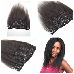 Brazilian human Hair 120g kinky straight clip in natural color G-EASY human hair clip in hair extensions 7Pcs set 12-26inch in stock