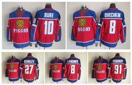 # 10 Pavel Bure Equipo Rusia Jerseys Olímpicos de Hockey sobre hielo 91 Sergei Fedorov 27 Alexei Kovalev 8 Alex Ovechkin Red Jerseys desde maillot olímpico rusia fabricantes