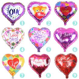 Globos del corazón en Línea-18 '' TE AMO globo de San Valentín día de la boda decoraciones de las fuentes del partido del corazón globos de papel de aluminio de forma de amor