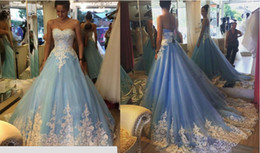 2016 Vintage Sky blue color lace ball gown wedding dress white and blue long train wedding gown bridal dress