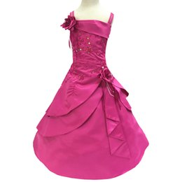 Wholesale Kids Evening Clothes - New Arrival Flower Girl Dresses Kids Embroidery Satin Beaded Long Party Evening Ball Gown Children Formal Clothes