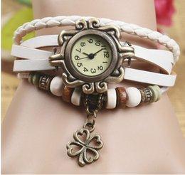 Wholesale Retro trend bracelet watch female models Sen female Clover bracelet watch leather watch list D