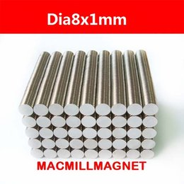 100Pcs lot N35 Super Strong NdFeB Magnets Bulk Super Round Disc Rare Earth Neodymium Magnet 8mm x 1mm, Free Shipping
