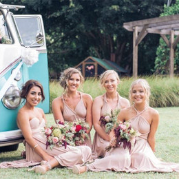 Country Wedding Short Bridesmaid Dresses Western Nude Bridesmaid Dress Four Styles Wearing A Line Knee Length Halter Strapless Bridesmaids