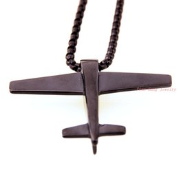 Wholesale Perfect technology L Stainless Steel Aircraft Model Pendant Necklace Chain Mens Jewellery Free Box Link Chain