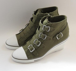 Wholesale Ash Genial Buckled Canvas Ankle Boots Wedge Sneaker Army Green Fashion Trainers On Hot Sale Tide Jeans Casual Sport Shoes Size