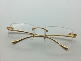 Wholesale new rimless eyeglass frames carter logo brand designer frame metal frame K gold plated men brand optical with original case