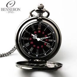 Mujer del reloj del collar en venta-Reloj de bolsillo al por mayor-Negro Patrón romana retro retro de la manera maquinaria de cuarzo Orologio Da Tasca collar del reloj para hombres y mujeres