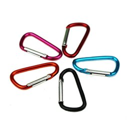 Wholesale 10 Assorted Colors D Shape Spring loaded Gate Aluminum Carabiner for Home Rv Camping Fishing Hiking and Keychain