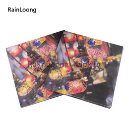 Wholesale RainLoong Arabic Lamp Paper Napkins Event Party Supply Printed Feature Paper Serviettes Tissue Decoupage Table Decoratio cm cm