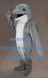 Wholesale Grey Dolphin Mascot costume Aquarium Mascot Lovely Adult Size Sea Animal Performance Outfit Suit Fancy Dress SW828
