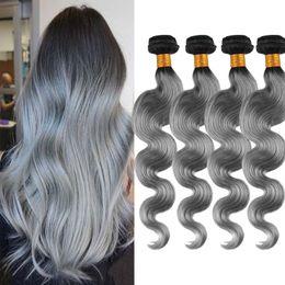 Ombre T1B  Gray Body Wave Bundles Brazilian Best Quality Virgin Human Hair Extensions 4pcs Women's Fashion Grace Hair Double Weft for party