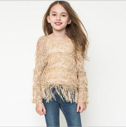 New Junior Knit Tassel Pullover Teenager Hallow out Knitted Nation Sweater 2016 Big Baby Girls Fashion Autumn Christmas Clothing