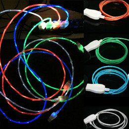 1M 3FT Visible Flowing LED Light Micro USB Data Charger Cable Type C Flashing Charging Round Cable Cord for Samsung S8 S9 HTC Smartphone