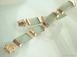 Assiettes en porcelaine pour en Ligne-2016 nouveau de Pékin, en Chine bracelet en jade Lumière naturelle Vert Jade jaune or Plaqué Bracelet Fortune Link Clasp