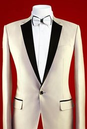 Wholesale Custom MADE TO MEASURE men suit BESPOKE Champagne tuxedo groom wedding suits one button with black satin notch Jacket