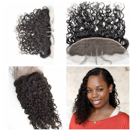 Indian Human Hair Closure Wavy Lace Closure Front 13x4 Middle3Way Part Bleached Knots Wet and Wavy Lace Frontal Natural 1B G-EASY Hair