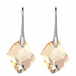 Wholesale Austria Crystal Water Long Drop Dangle Earrings For Women Made With Swarovski Elements Earrings White Gold Plated