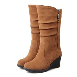 Discount pleat fabric - Wholesale-2016 Big size 34-43 high quality women shoes new arrivals mid calf wedges boots flock autumn Spring woman boots