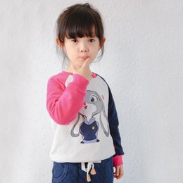 Wholesale 2016 New Autumn and Winter rabbit girls T shirt printing color blocking children super soft warm pullover colors